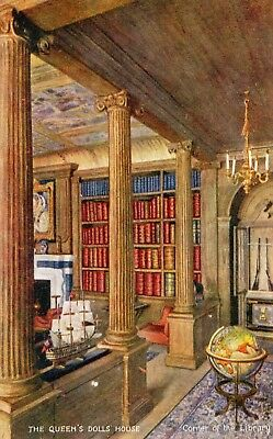 The Queen's Doll's House Corner Of The Library Tuck Oilette Postcard 4501