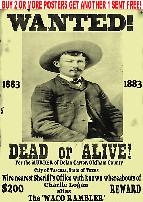 Old West Wanted Posters Outlaw Sheriff Bank Robber Train Murder Wyatt Doc Cowboy