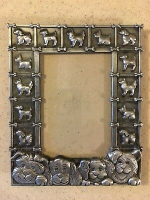 Dog Theme Metal Picture Frame  Silver Tone Dogs frame Border
