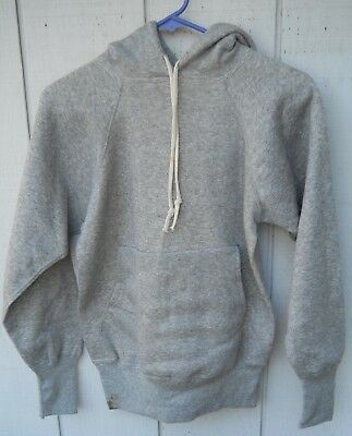 Vintage 70's Pull-Over Hoodie Grey Sweat-Shirt Size  Med By No Label All Cotton
