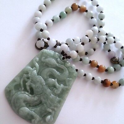 ^100% Real Natural Untreated Icy-Green Jade Jadeite Necklace/dragon Pendant