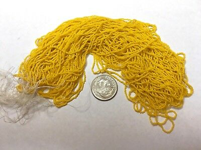 Rare Pre-1900 Antique Micro Seed Beads-20/0 Bright Sunflower Yellow Opaque