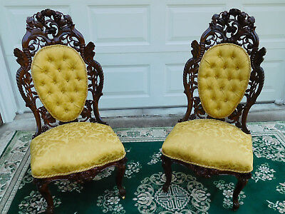 Elite Victorian Rococo J H Belter Cornucopia Pair Of Side Chairs