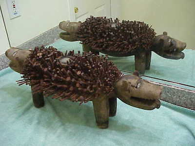 "#67 Antique African Figure Wood Statue 26"" Power Figure Nails Two-Headed Animal"