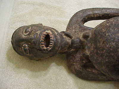 "#86 Antique African Figure Wood Statue 23"" Pregnant Dual Fetish Bafoujow Animal"