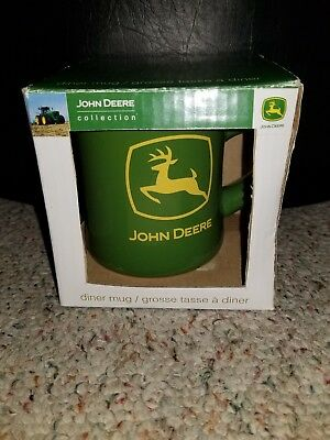Lot of 2 LICENSED JOHN DEERE TRACTOR BRAND LOGO DINER COFFEE MUG CUP WITH BOX