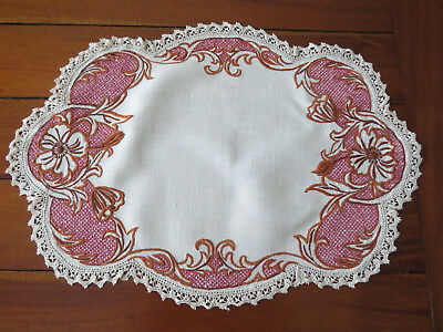 Stunning Embrodered Table Center Piece Doily - Excellent Condition...