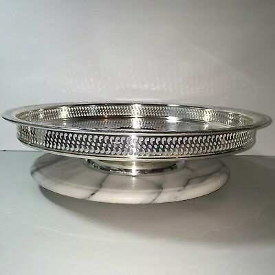"Wm Rogers & Son Lazy Susan Turntable 15"" Silverplate Spring Flower Serving Tray"