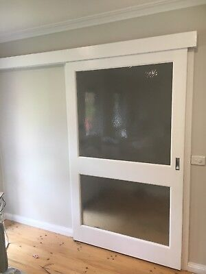Solid Timber Sliding Door With Large glass Panels