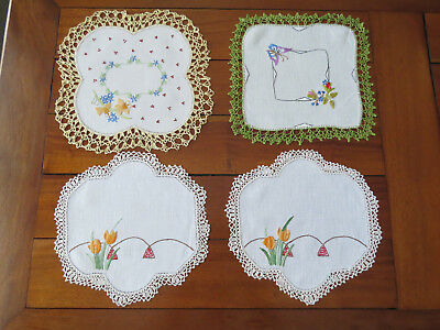 4 Floral Doilies - 2 Matching Tulip Doilies - See Photos....