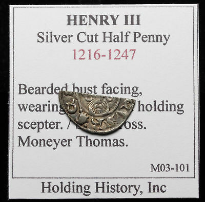 ENGLAND. Henry III Silver Hammered cut Half Penny, Moneyer Thomas