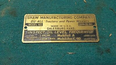 Shaw Manufacturing company brass tag NOS Tractor