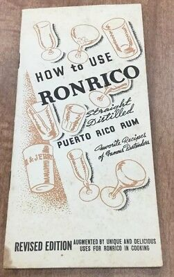Vintage - How To Use Ronrico - Puerto Rico Rum - Recipe Booklet