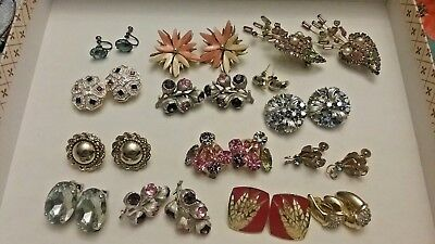 VINTAGE TO NOW JEWELRY LOT EARRINGS, CLIP ON, SCREW ON, some signed