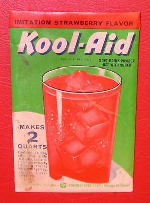 VINTAGE 1950's KOOL-AID FULL PACK Mint Mip STRAWBERRY FLAVOR old store stock !!