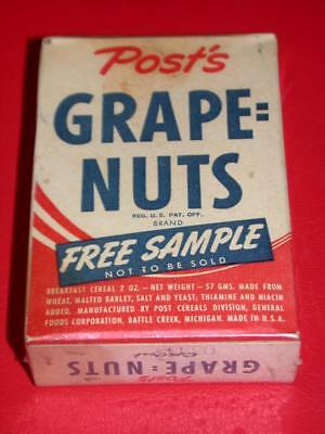 VINTAGE 40's 1950's POST GRAPE NUTS Cereal FULL FREE SAMPLE BOX Old Stock Post's