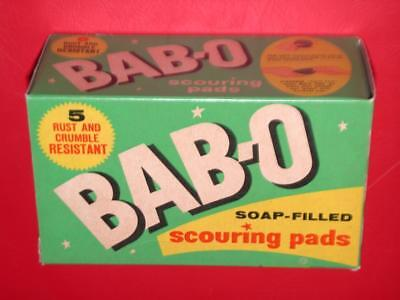 VINTAGE 1950's 60's BAB-O Full Box SOAP FILLED SCOURING PADS NOS Old Store Stock