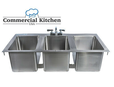 "Stainless Steel 3 Compartment Drop-In Sink 37"" x 19"" NSF Certified With Faucet"