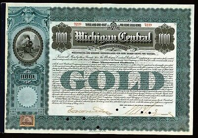 1902 Michigan Central Railroad Co $1000 Gold Bond Beautiful Original & Genuine