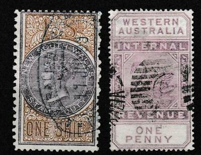 NSW 1/- Stamp Duty cancelled and W.A. 1d Internal revenue postally used