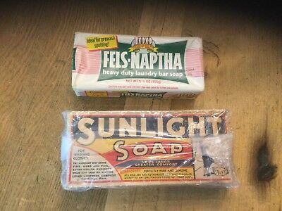 2  Vintage Packages Soap 1 Bar Of Sunlight Soap &1 Fels-Naptha Advertising