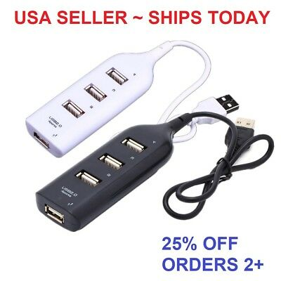 New Mini 4 Port USB 2.0 High Speed Hub Splitter 480 Mbps for PC Laptop US Seller