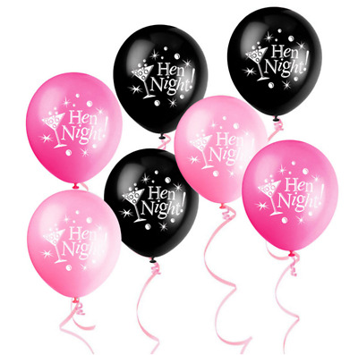 10 Stück Hen Night Party Latex Ballons schwarz rosa Bachelorette Party Dekor