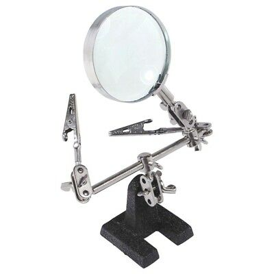 Soldering Stand w 5X Magnifying Glass 2 Alligator Clips Arms Fr Glass Loupe X5F9