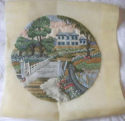 Vintage Completed Long Stitch Tapestry Country House & Garden Suit Cushion Craft