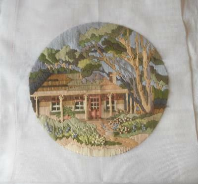 Vintage Completed Long Stitch Tapestry Country Homestead Suit Cushion Craft