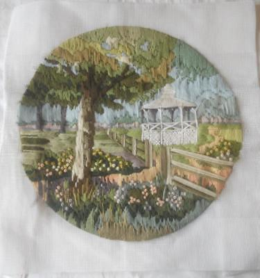 Vintage Completed Long Stitch Tapestry Country Garden Gazebo Suit Cushion Craft