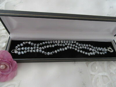 Stunning Vintage 3Rows Of Dove Grey Freswater Pearls Bracelet , Boxed