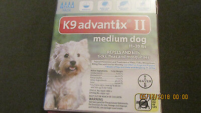 K9 Advantix II Flea Medicine Medium Size Dog 4 Month Supply Pack K-9 11-20
