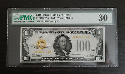 1928 $100 Pmg 30 - Gold Certificates For Sale