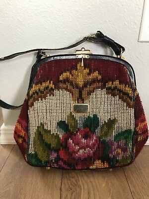 VINTAGE KORET Tapestry Purse Made In Italy Floral