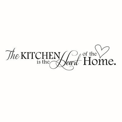 """Novelty """"The Kitchen Is The Heart Of The Home"""" Removable Wall Quote Sticker W7O4"""