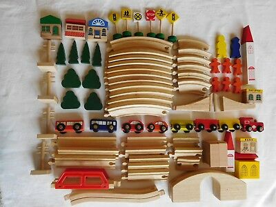 Wooden Toys - train track, vehicles, people, buildings, signs - over 80 pieces