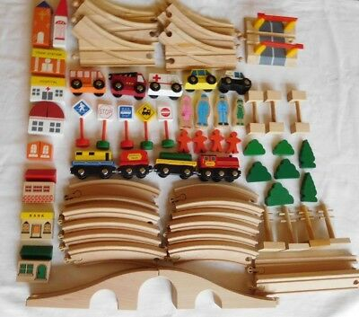 Quality wooden train track, vehicles, people, buildings, signs - over 80 pieces
