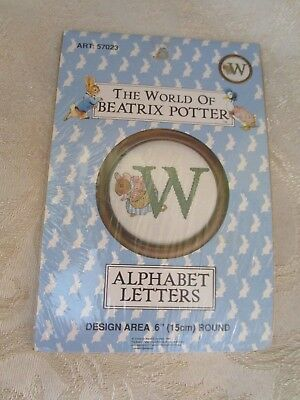 The World Of Beatrix Potter Cross Stitch Kit Of The Letter W 15Cms Round