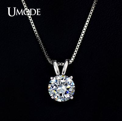 UMODE Classic Permanent 2ct Solitaire Hearts and Arrows CZ Pendant Necklace