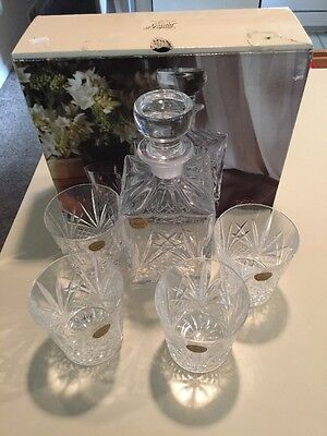 Cristal D Arques Tradition Decanter With 4 Rock Glasses. Nib