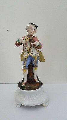 Antique Musician Violin Player Porcelain Figurine