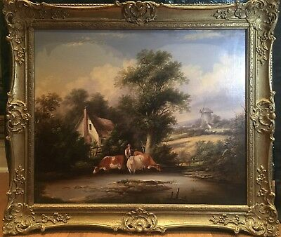 OIL PAINTING FINE LARGE ORIGINAL ANTIQUE 18th CENTURY BRITISH OLD MASTER  SCENE