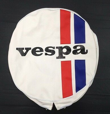 "Spare wheel cover 10"" Vespa logo striped white/red/blue for Vespa & LML"