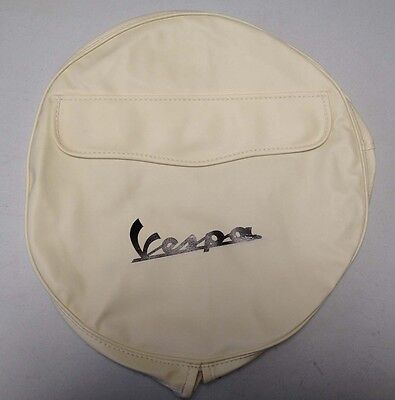 "Spare wheel cover 10"" Vespa logo cream/black for Vespa & LML"