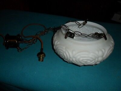art deco open top chain hanging milk glass light