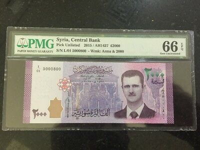 Syria 2017 New PMG Low Serial Banknote 2000 Livres UNC Inflation War President #