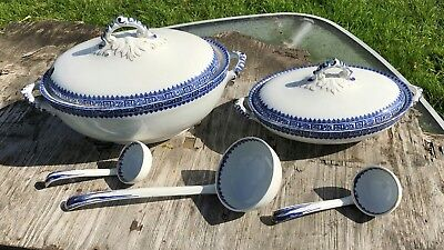 Vintage Late Mayers Soup Serving Bowl Serving Dish and 3 Soup Ladels *
