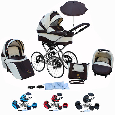 BABY PRAM 3in1 Stroller Pushchair Buggy Style Retro Travel system and car seat