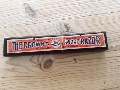 Vintage cut throught razor boxed,the crown and sword razor,Germany,Barber shop.